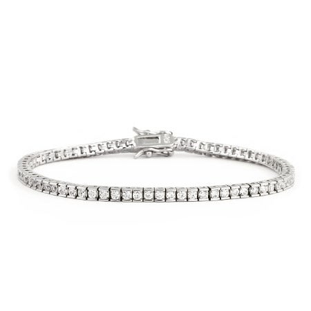 Sterling Silver Brilliant Cut 2mm CZ Tennis Bracelet | Eve's Addiction®