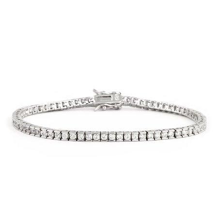 Sterling Silver Brilliant Cut 2mm CZ Tennis Bracelet | Eve's Addiction®