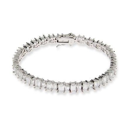 Sparkling Baguette Cut CZ Tennis Bracelet | Eve's Addiction®