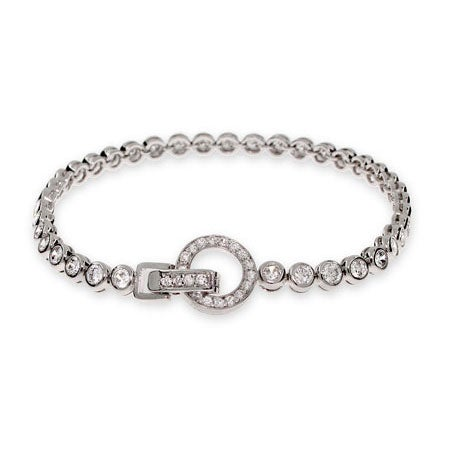 CZ Bubbles Tennis Bracelet with Round Clasp | Eve's Addiction®