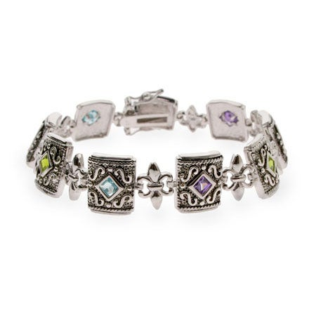 Multicolor CZ Fleur de Lis Sterling Silver Bracelet | Eve's Addiction®