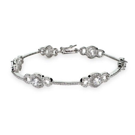 Exquisite Vintage Style CZ Sterling Silver Tennis Bracelet | Eve's Addiction®