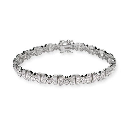 Deco Style Victorian CZ Silver Tennis Bracelet | Eve's Addiction®