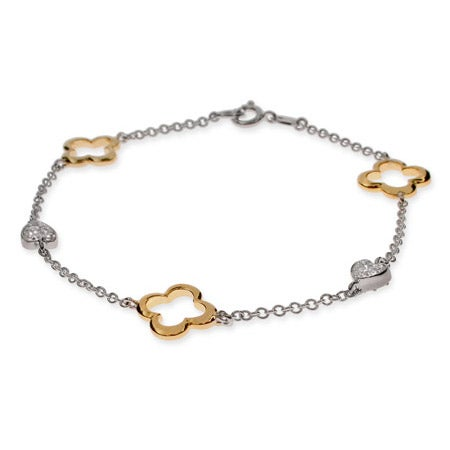 Gold & Silver Four Petal Hearts Bracelet | Eve's Addiction®
