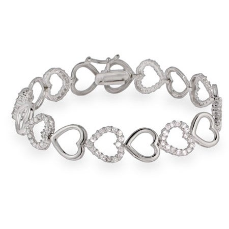 CZ and Silver Hearts Sterling Silver Bracelet | Eve's Addiction®