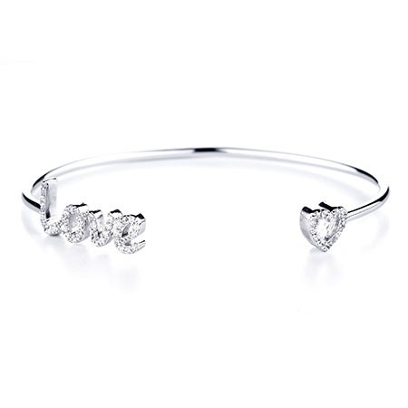 Love and Heart Thin CZ Cuff | Eve's Addiction®