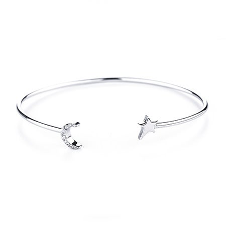 CZ Moon and Silver Star Cuff Bracelet | Eve's Addiction®