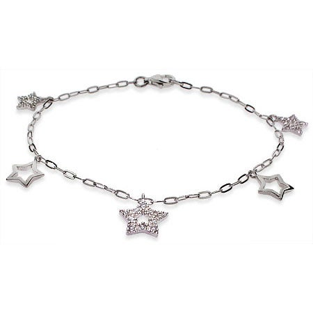 Tiffany Style Sparkling CZ Star Charm Bracelet
