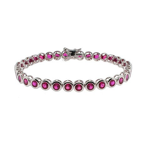 Designer Style Ruby CZ Bezel Set Tennis Bracelet | Eve's Addiction®