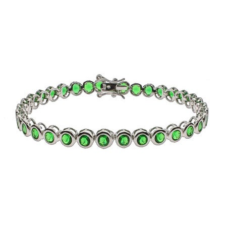 Emerald CZ Bezel Set Tennis Bracelet | Eve's Addiction®