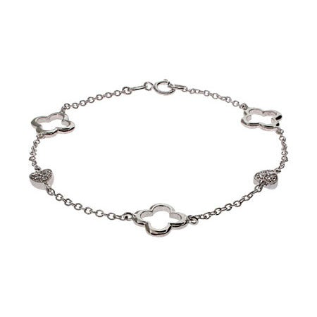 Designer Style Sterling Silver Four Petal & Heart Bracelet | Eve's Addiction®