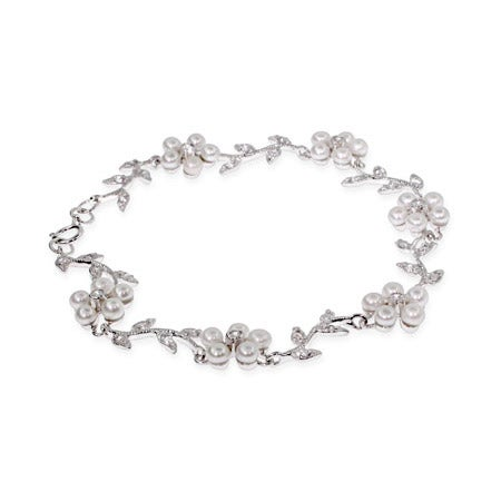 Elegant Vine Of Freshwater Pearl Flowers Bracelet | Eve's Addiction®