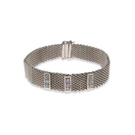 Designer Style Mesh CZ Bar Bracelet | Eve's Addiction®