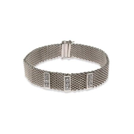 Designer Style Mesh CZ Bar Bracelet | Eve's Addiction®