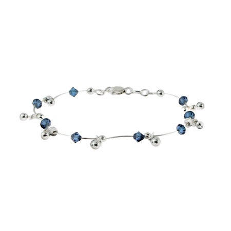 Sterling Silver and Sapphire Bead Scalloped Link Bracelet | Eve's Addiction®