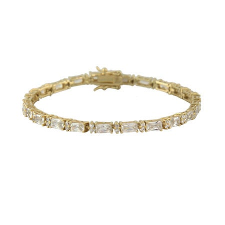 Formal Baguette CZ Gold Tennis Bracelet | Eve's Addiction®
