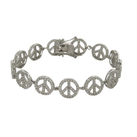 Sparkling CZ Sterling Silver Peace Sign Bracelet | Eve's Addiction®