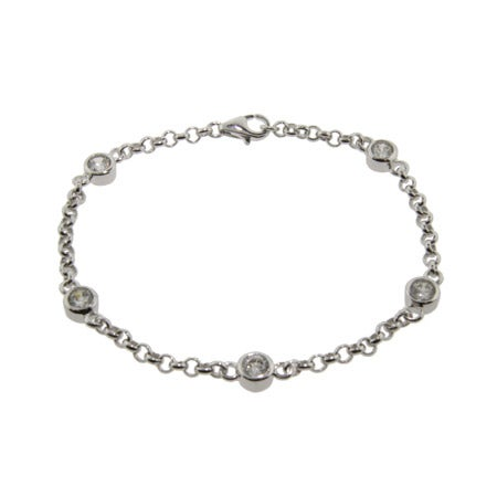 Royalty Style CZ Studded Chain Sterling Silver Bracelet | Eve's Addiction®