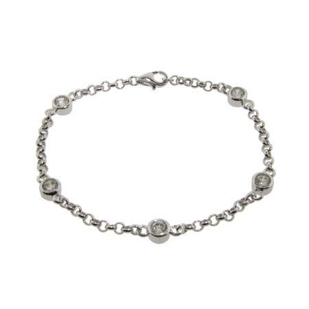 Royalty Style CZ Studded Chain Sterling Silver Bracelet | Eve's Addiction®