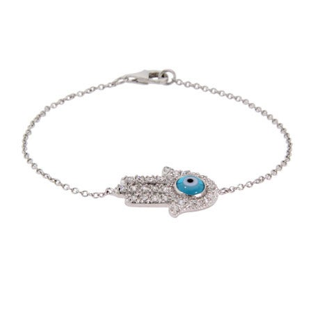 Sterling Silver CZ Blue Evil Eye Hamsa Bracelet | Eve's Addiction®