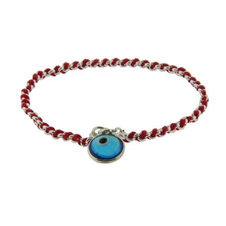 Sterling Silver Blue Glass Evil Eye Red Cord Bracelet | Eve's Addiction