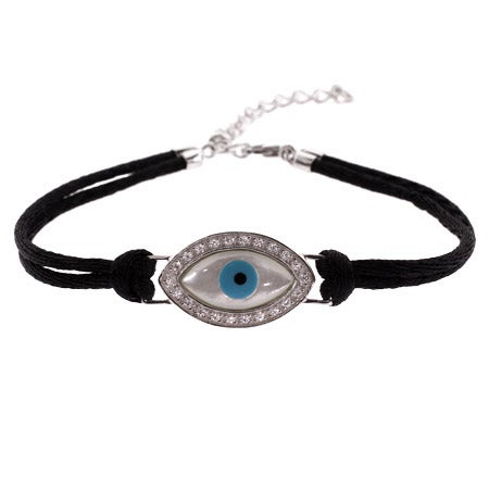 Sterling Silver Evil Eye Bracelet on Silk Cord | Eve's Addiction®