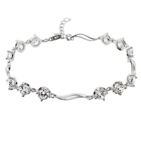 Brilliant Cut CZ Past, Present, Future Silver Tennis Bracelet | Eve's Addiction®