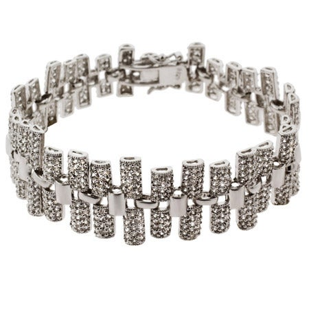 Glamorous Red Carpet Style Pave CZ Bar Linked Bracelet | Eve's Addiction®