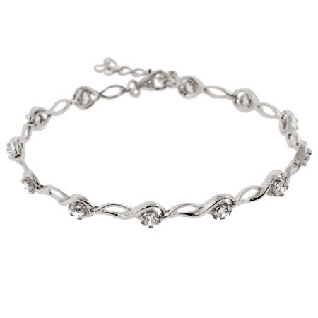 Sterling Silver Brilliant Cut CZ Tear Drop Link Tennis Bracelet | Eve's Addiction®