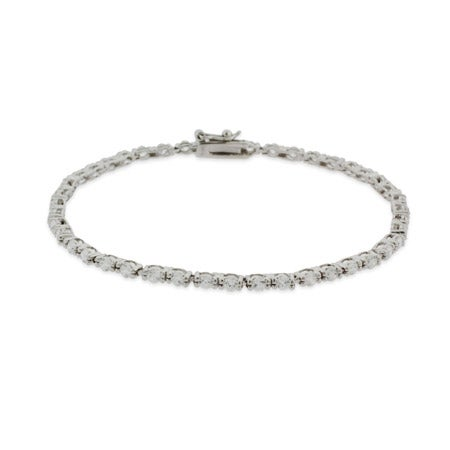 Super Skinny CZ and Silver Tennis Bracelet | Eve's Addiction®