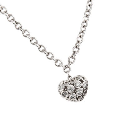 Puffed Bezel Set CZ Heart Charm Bracelet - Clearance Final Sale