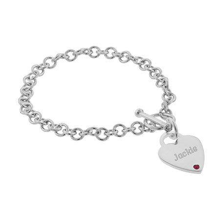 Engravable Heart Tag Custom Birthstone Bracelet | Eve's Addiction®
