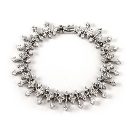 Sterling Silver CZ Flower Linked Bracelet | Eve's Addiction®