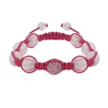 Pink Pave Crystal Shamballa Inspired Bead Bracelet | Eve's Addiction®