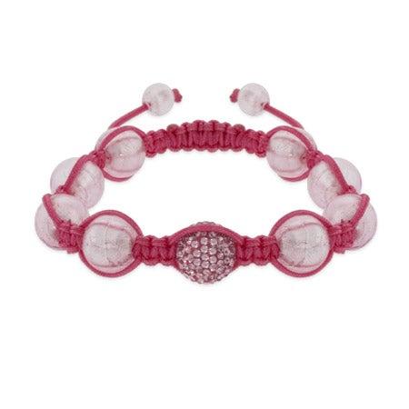 Pink Pave Crystal Shamballa Inspired Bead Bracelet | Eve's Addiction®