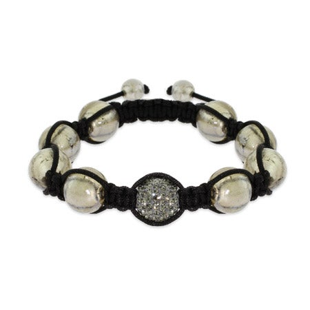 Gray Pave Austrian Crystal Shamballa Inspired Bead Bracelet | Eve's Addiction®
