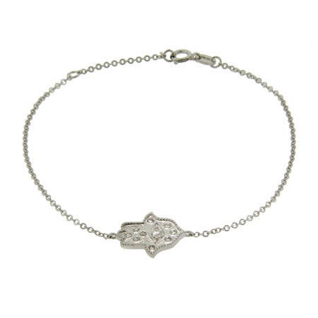 Sterling Silver and CZ Fancy Hamsa Bracelet | Eve's Addiction®
