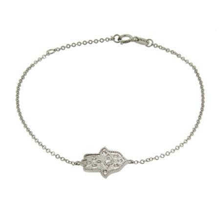Sterling Silver and CZ Fancy Hamsa Bracelet | Eve's Addiction®