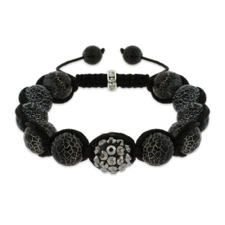 Marbled Black Fire Agate Shamballa Inspired Bracelet | Eve's Addiction®