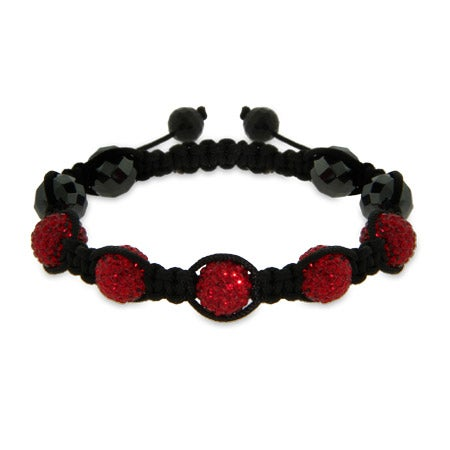 Pave Ruby Red Austrian Crystal Shamballa Style Bracelet | Eve's Addiction®
