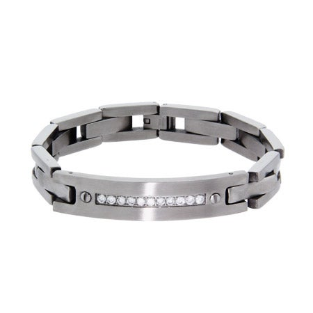 Men's Designer Style Stainless Steel Bracelet with CZ Accents | Eve's Addiction®