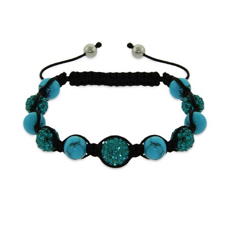 Sparkling Blue Austrian Crystal and Turquoise Bead Shamballa Style Bracelet | Eve's Addiction®