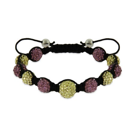 Lavender and Gold Austrian Crystal Shamballa Inspired Bracelet | Eve's Addiction®