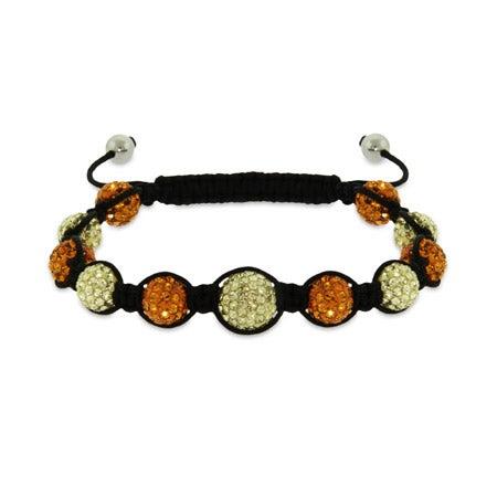 Shades of Summer Orange and Yellow Austrian Crystal Shamballa Inspired Bracelet