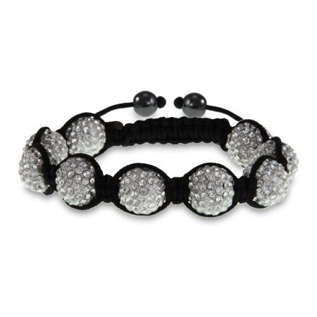 Sparkling 12 mm White Austrian Crystal Shamballa Style Bracelet | Eve's Addiction®
