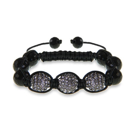 12mm Grey Austrian Crystal Shamballa Style Bracelet | Eve's Addiction®