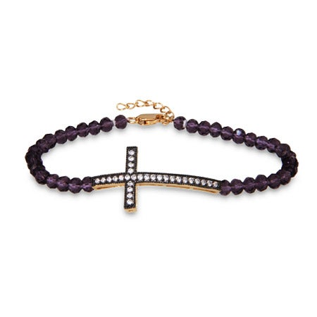 Sterling Silver Amethyst Gold Sideways Cross Bracelet | Eve's Addiction®