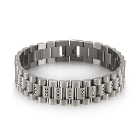 Men's Stainless Steel CZ Watch Link Bracelet | Eve's Addiction
