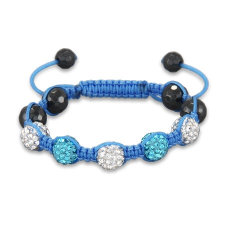 Shades of Sky Blue Kids Shamballa Style Bracelet | Eve's Addiction®