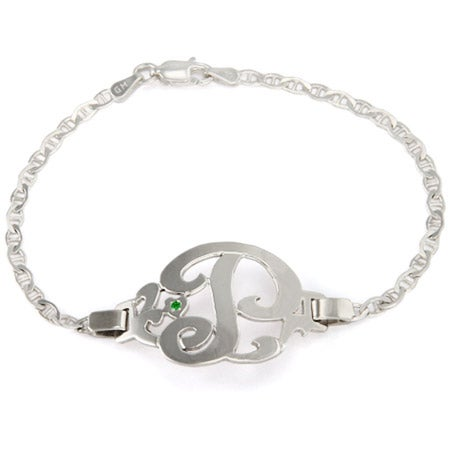 Initial Birthstone Sterling Silver Bracelet | Eve's Addiction®